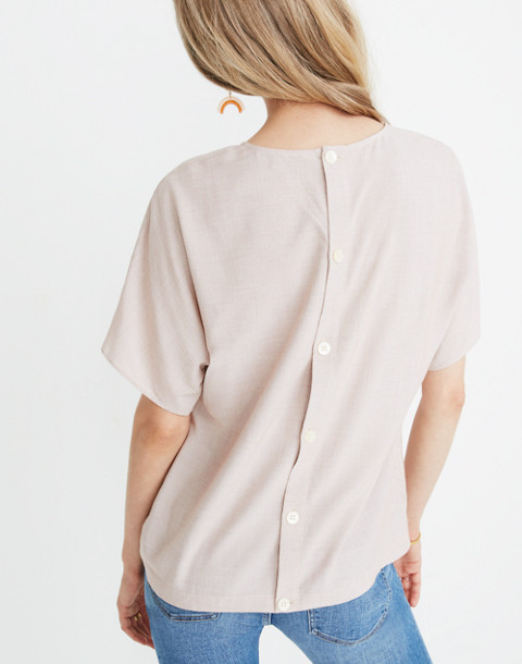 Button-Back Tie Tee in Stripe in warm nutmeg skinny stripe image 3