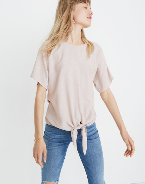Button-Back Tie Tee in Stripe in warm nutmeg skinny stripe image 1