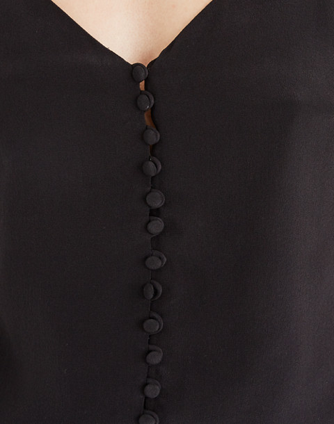 Silk Button-Down Cami in true black image 3