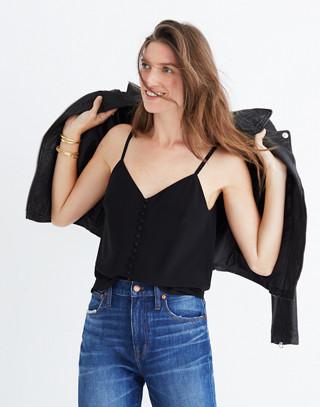 Silk Button-Down Cami in true black image 1