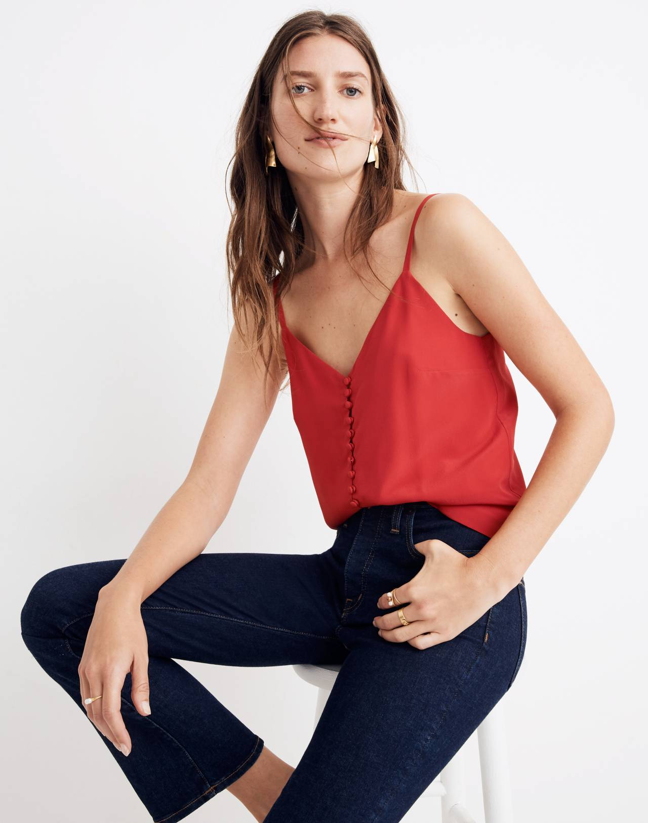 Silk Button-Down Cami in cranberry image 2