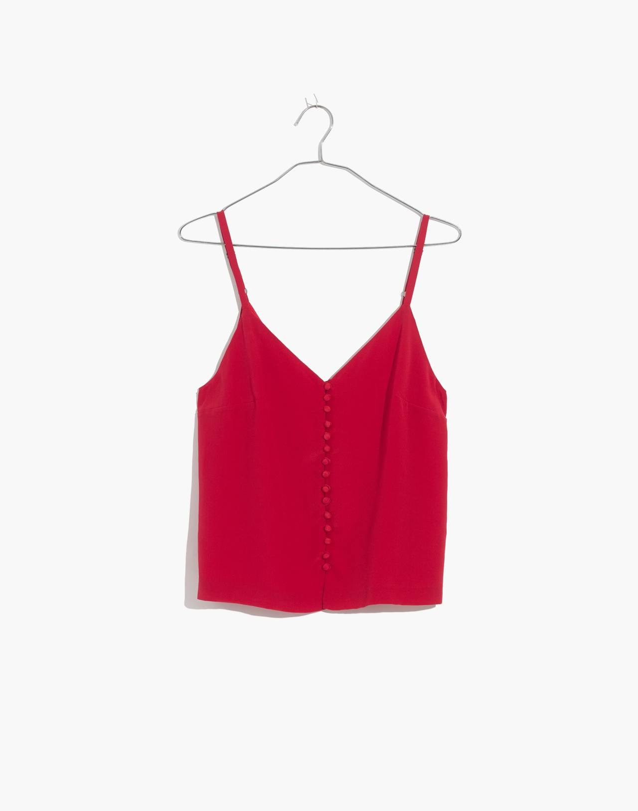 Silk Button-Down Cami in cranberry image 4