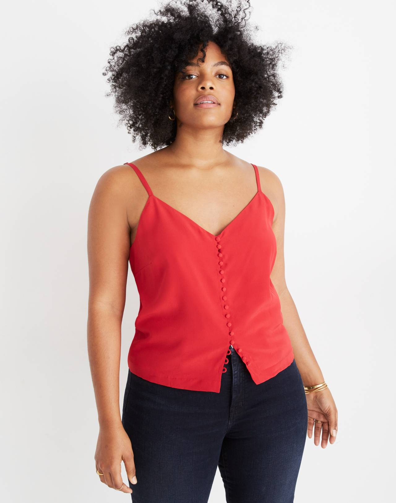 Silk Button-Down Cami in cranberry image 1
