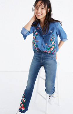 Embroidered Cutoff Denim Shirt