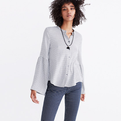 Bell-Sleeve Button-Down Shirt in Windowpane