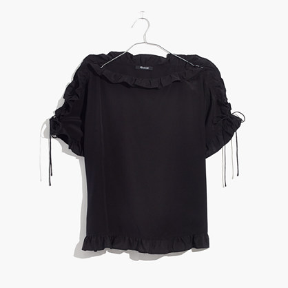 Silk Ruffled Lace-Up Top