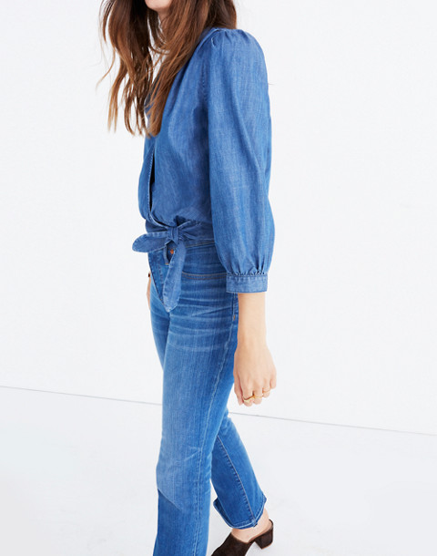 Denim Wrap Top in descanso wash image 2