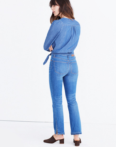 Denim Wrap Top in descanso wash image 3