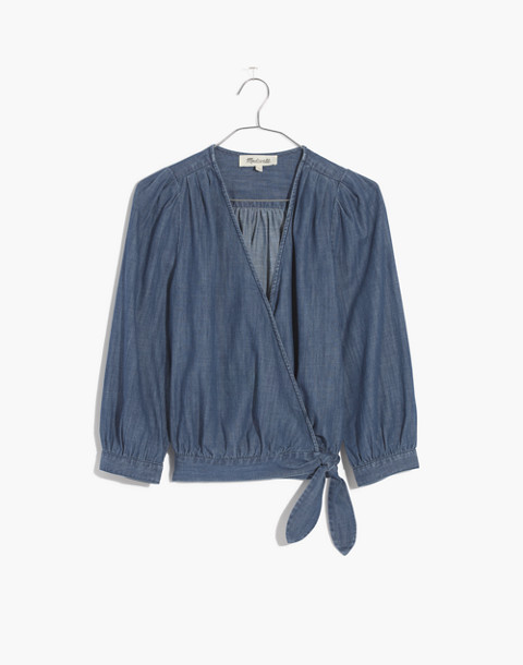 Denim Wrap Top in descanso wash image 4