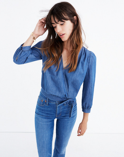 Denim Wrap Top in descanso wash image 1