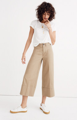 Langford Wide-Leg Crop Pants in Light Latte