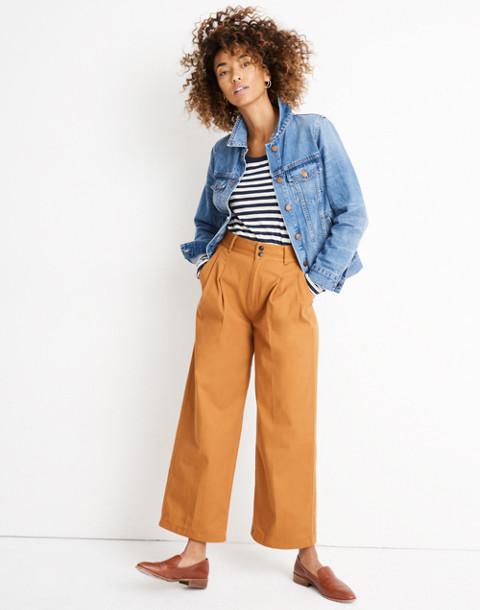 Pleated Wide-Leg Pants in golden pecan image 1