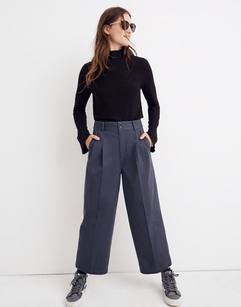 Pleated Wide-Leg Pants in thunder image 1