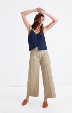 Khaki Wide-Leg Pants