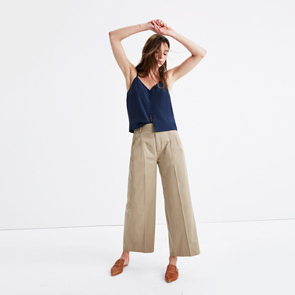 Khaki Wide-Leg Pants