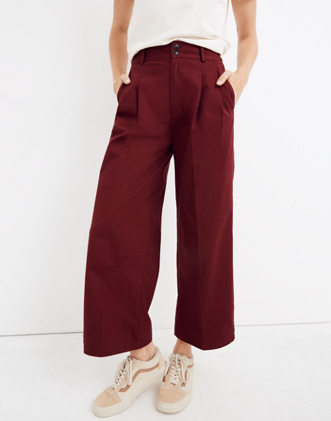 Pleated Wide-Leg Pants in dusty burgundy image 2