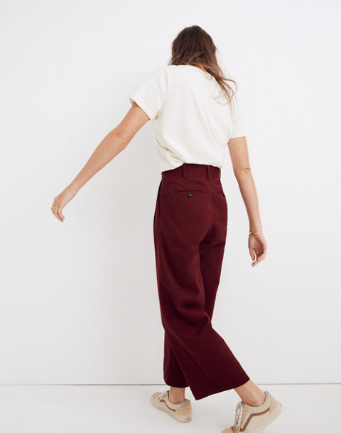 Pleated Wide-Leg Pants in dusty burgundy image 3
