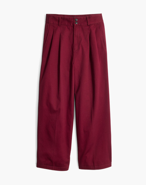 Pleated Wide-Leg Pants in dusty burgundy image 4