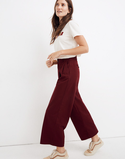 Pleated Wide-Leg Pants in dusty burgundy image 1