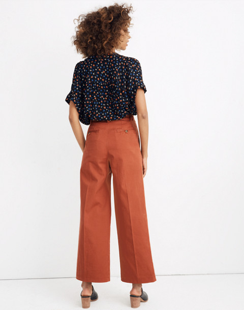 Pleated Wide-Leg Pants in afterglow red image 3