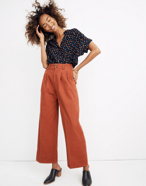 Pleated Wide-Leg Pants in afterglow red image 1