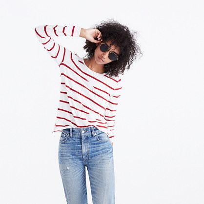 Whisper Cotton Long-Sleeve Crewneck Tee in Creston Stripe