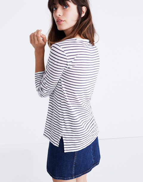 Whisper Cotton Long-Sleeve Crewneck Tee in Alameda Stripe