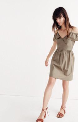 Khaki Cold-Shoulder Ruffle Dress