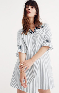 Embroidered Breeze Dress in Stripe