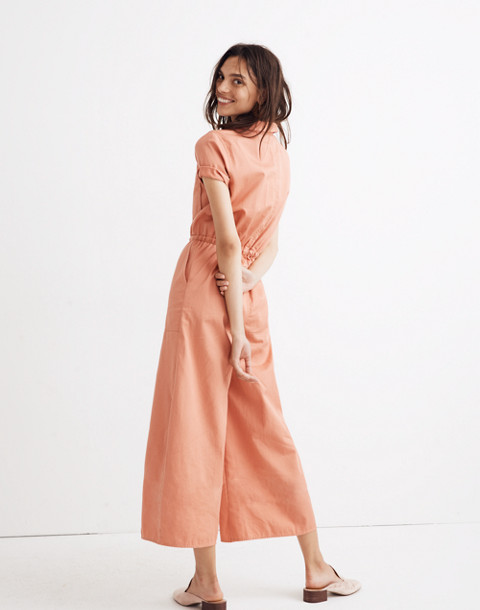 Wide-Leg Utility Jumpsuit in dried coral image 3