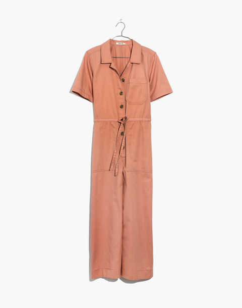 Wide-Leg Utility Jumpsuit in dried coral image 4