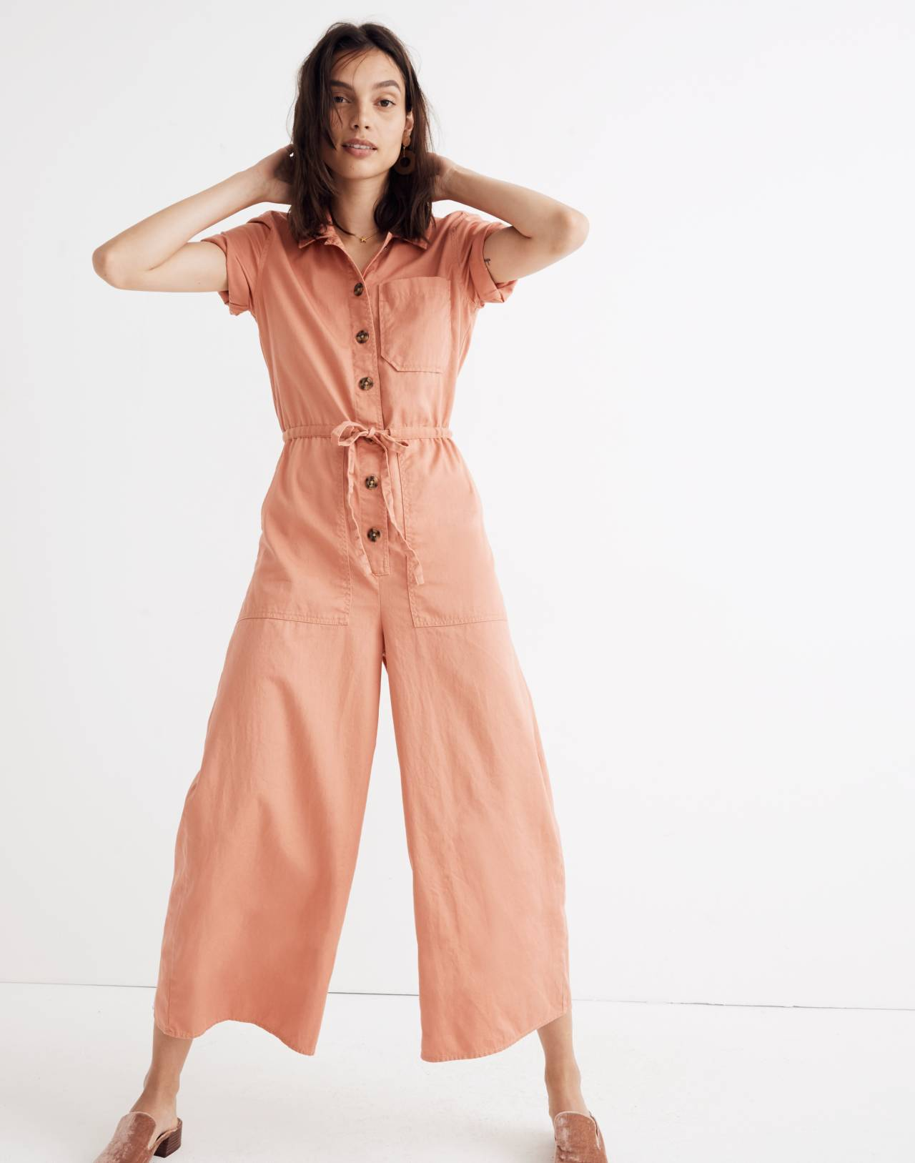 Wide-Leg Utility Jumpsuit in dried coral image 1