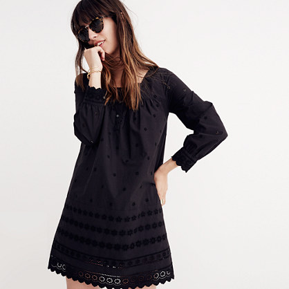 Embroidered Eyelet Shift Dress
