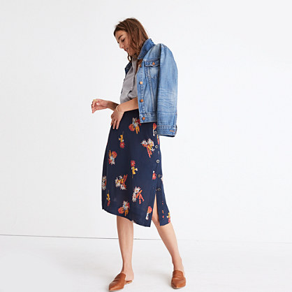 Silk Side-Button Skirt in Cactus Flower