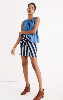 Striped Wrap-Tie Skirt