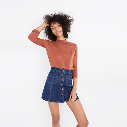 Patch-Pocket Jean Skirt