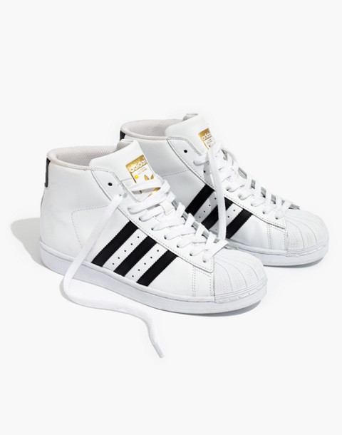 Adidas® Superstar™ Pro Model High-Top Sneakers in black white image 1