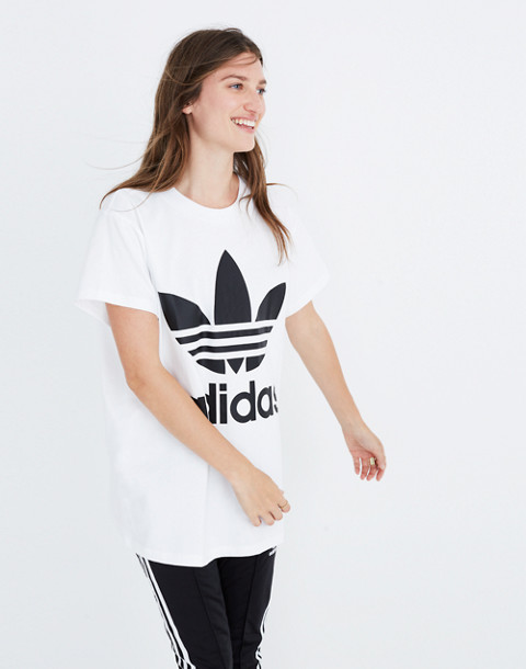 Adidas® Big Trefoil Tee in white turbo image 3