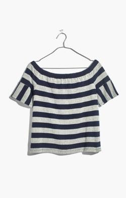 Off-the-Shoulder Texture Top in Stripe