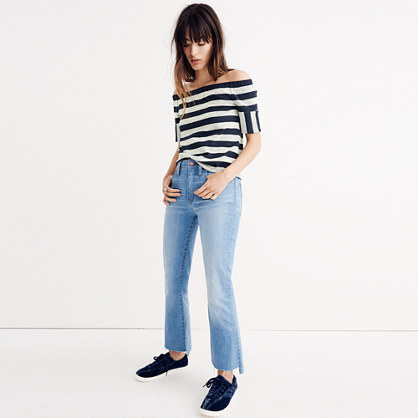Off-the-Shoulder Texture Top in Stripe