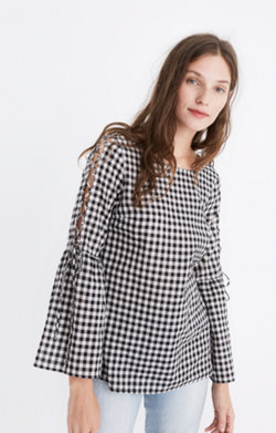Gingham Lace-Up Bell-Sleeve Top