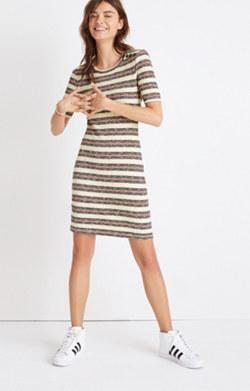 Short-Sleeve Mini Dress in Lawton Stripe