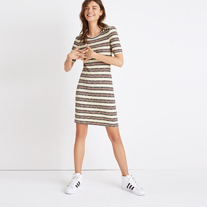 Short-Sleeve Mini Dress in Lawton Stripe