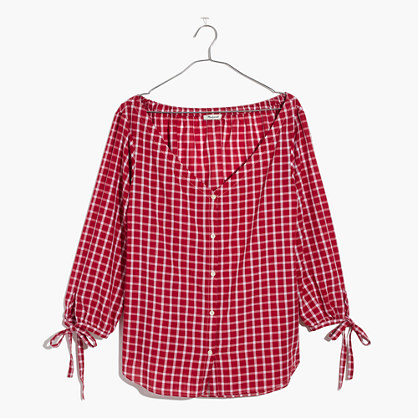 Plaid Off-Shoulder Top