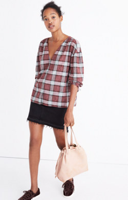 Morningview Tie-Sleeve Shirt in Burgundy Plaid