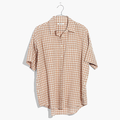 Courier Side-Button Shirt in Gingham Check