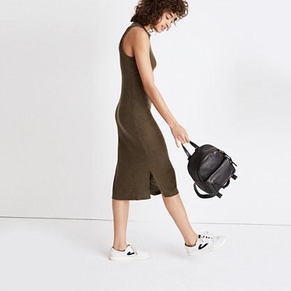 Ribbed Mockneck Midi Dress