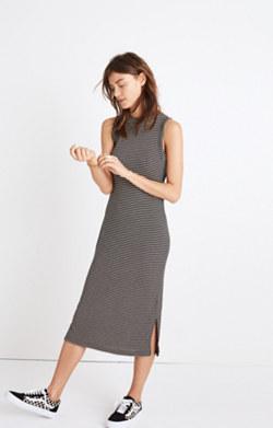 Ribbed Mockneck Midi Dress in Stripe