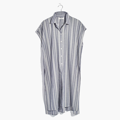 Side-Slit Tunic Shirt in Stripe