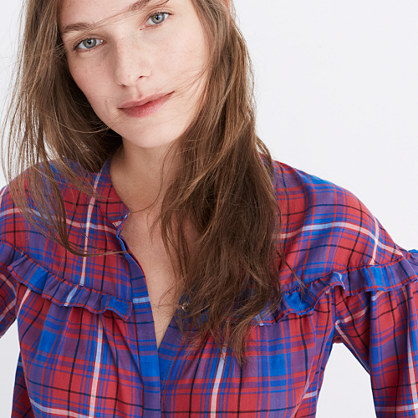 Plaid Shirred Button-Down Top